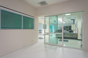 Sliding door in hospital area