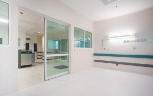 Sliding door in reception area of hospital