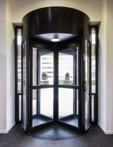revolving door in building Burlington, London, Ottawa - High Security Revolving Door Systems Ontario